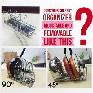 Related kitchen pot lid organizer anti rust stainless steel pan rack holder with 7 adjustable compartments for dinnerware bakeware cookware