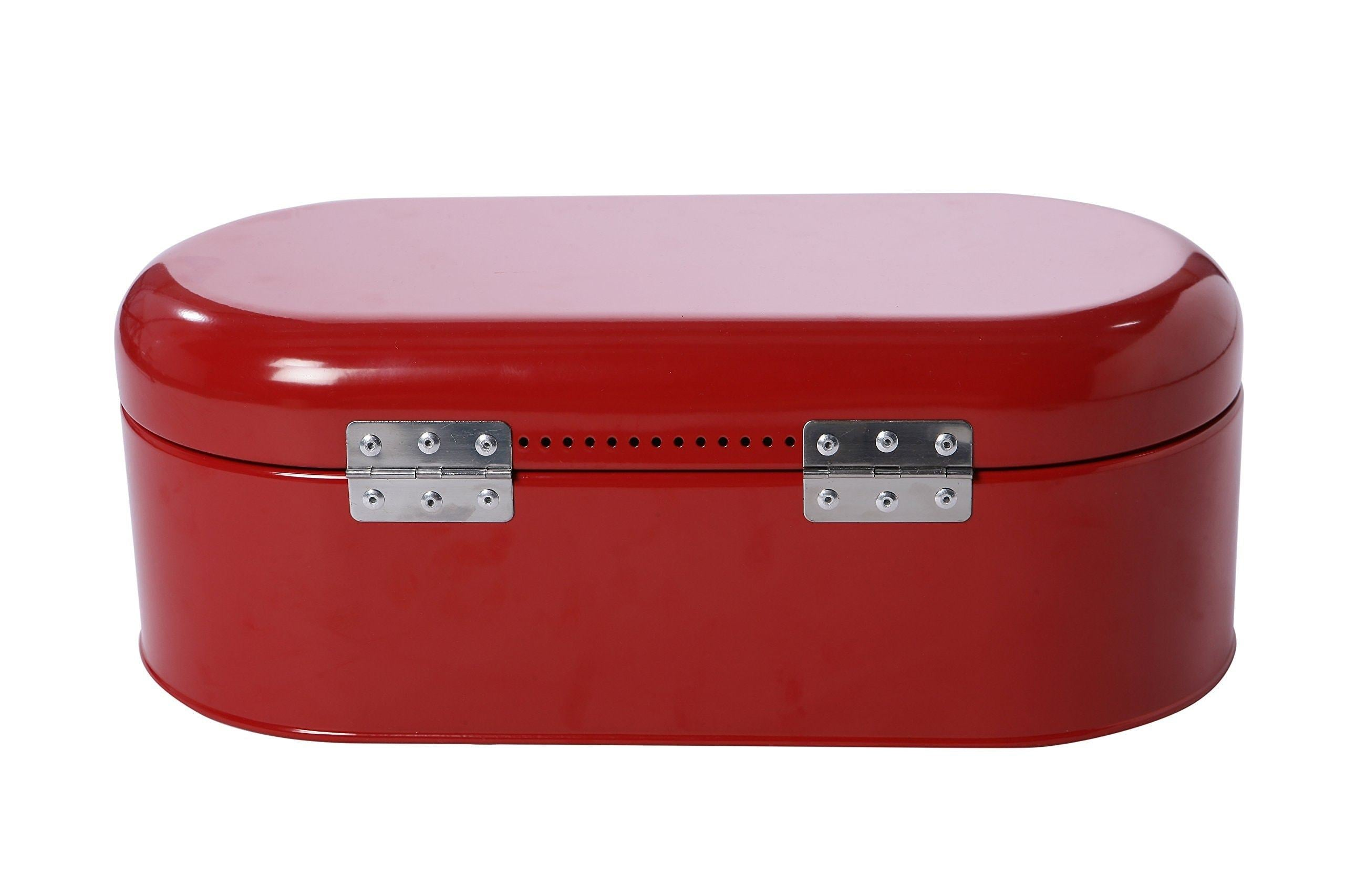 New large bread box for kitchen counter bread bin storage container with lid metal vintage retro design for loaves sliced bread pastries red 17 x 9 x 6 inches