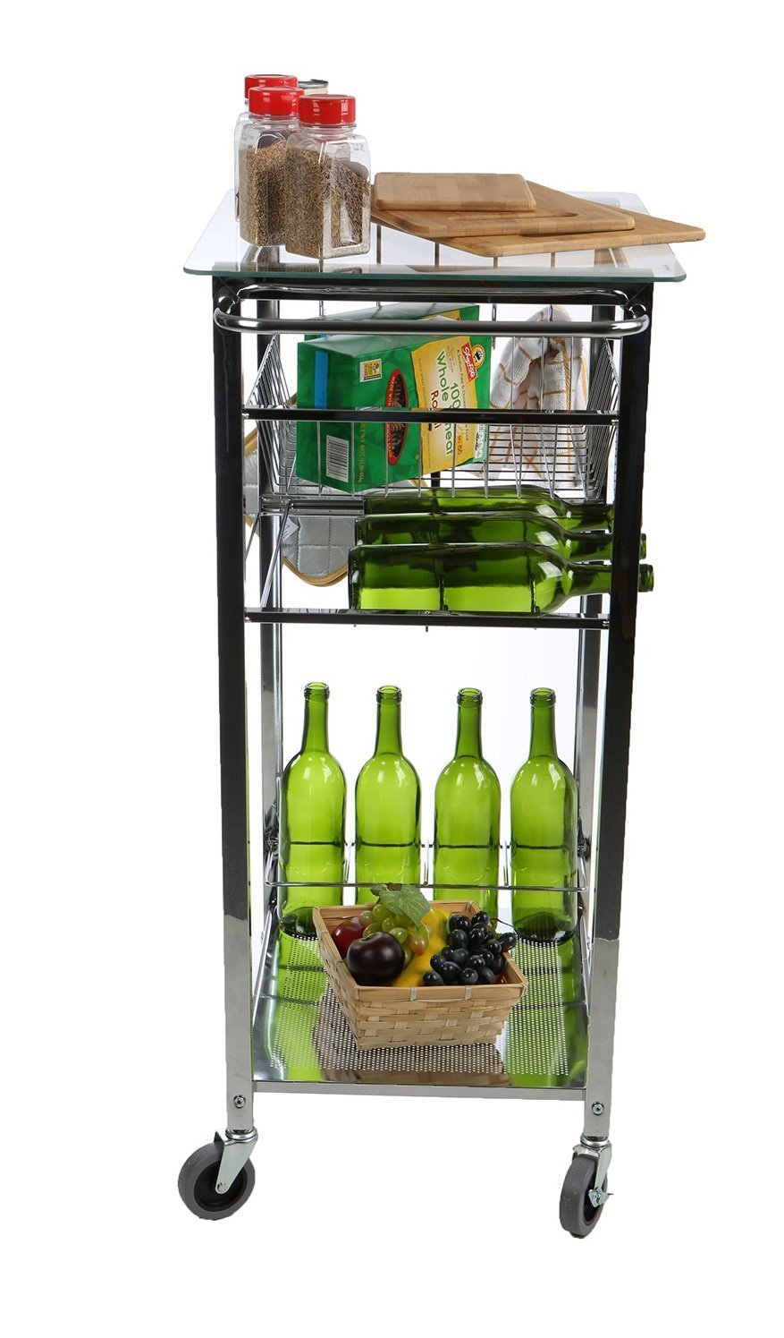 Related mind reader glass top mobile kitchen cart with wine bottle holder wine rack towel holder perfect kitchen island for cooking utensils kitchen appliances and food storage silver