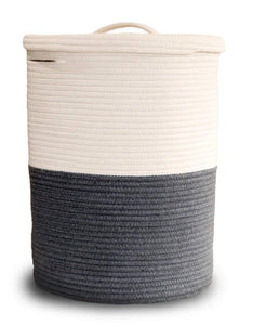 Online shopping extra large cotton rope laundry basket with lid laundry hamper with lid woven storage organizer for blankets pillows towels clothes toys baby nursery bathroom living room kitchen dark gray white