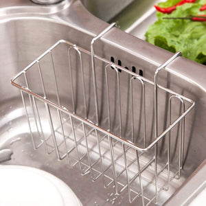 Storage aceen kitchen sink sponge holder 304 stainless steel sink caddy organizer liquid drainer storage basket for sponge soap brush dishwashing accessories