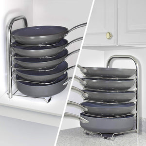 Discover the heavy duty cast iron pan and pot organizer rack 5 height adjustable shelves kitchen skillets cookware holder stainless steel 15 tall