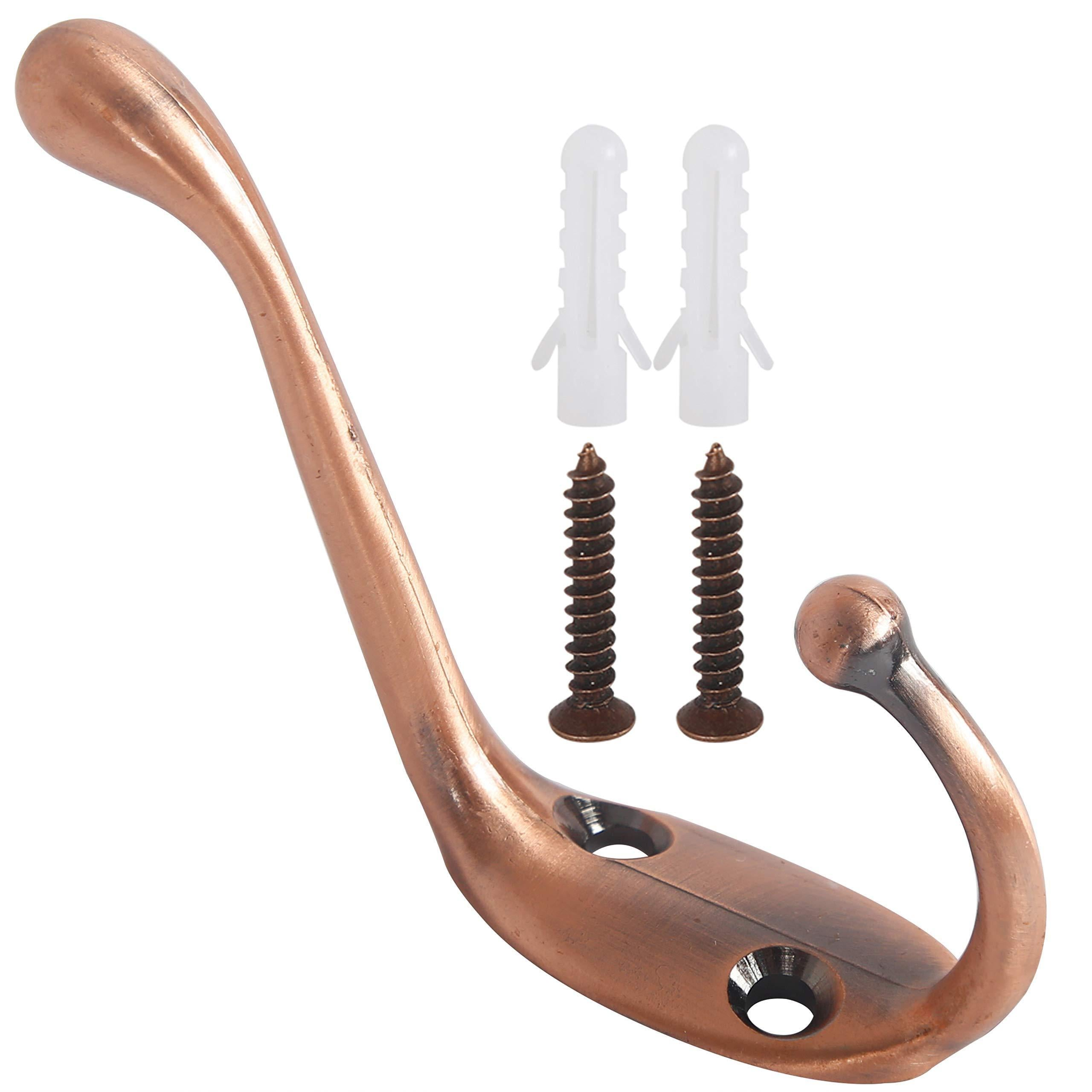Discover webi dual coat hook 18 set metal double robe hook decorative coat hat hook bath towel closet clothes hanger garment rail rack holder wall mount entryway kitchen antique copper