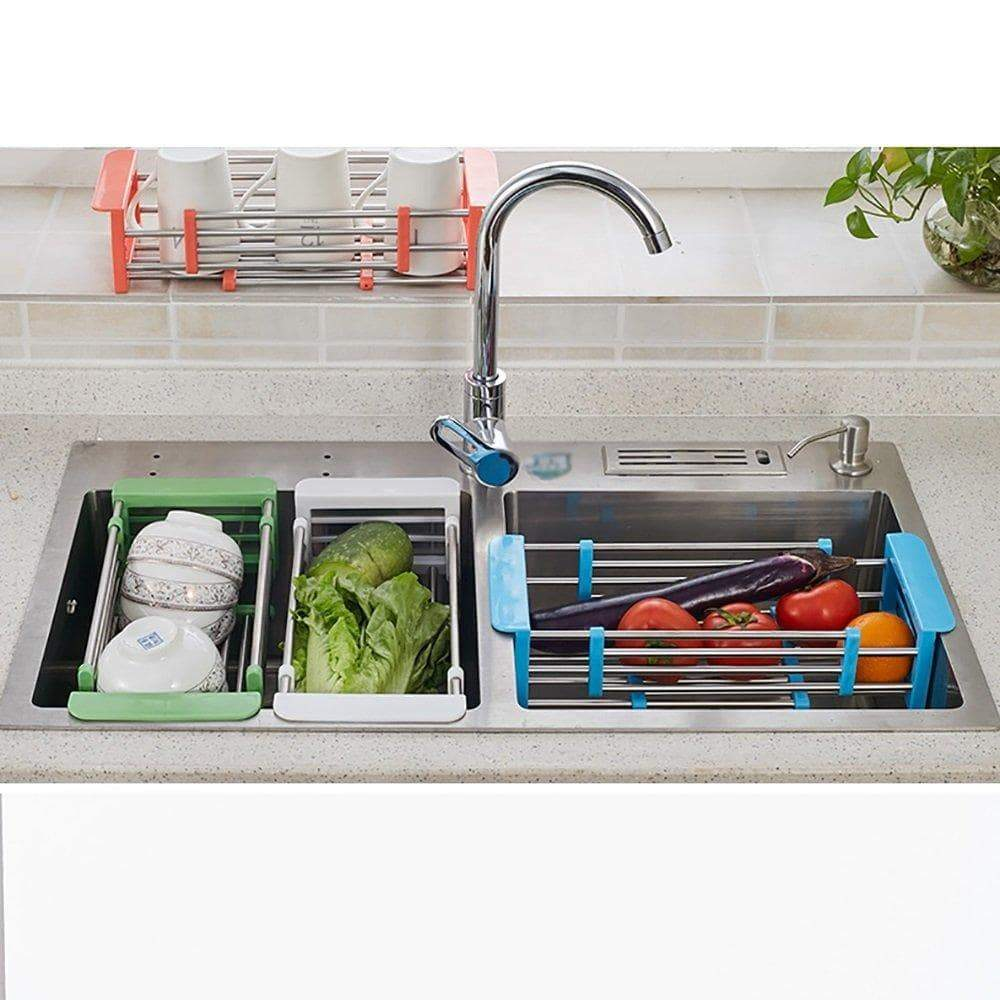 Organize with yan junau kitchen racks stainless steel retractable sink drain rack dish rack kitchen supplies color blue