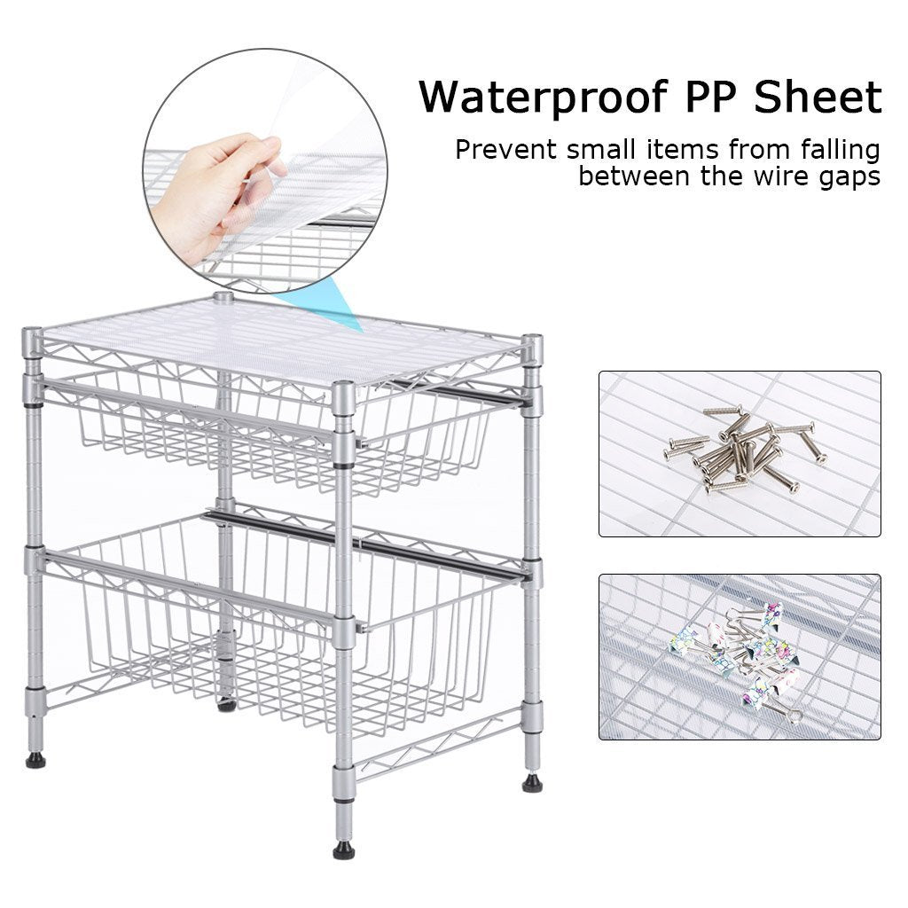 Discover the best rackaphile stackable 2 tier sliding basket organizer drawer under sink cabinet with adjustable leveling feet rack shelf for bathroom kitchen closet office desktop silver