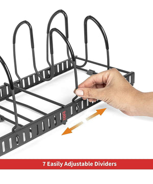Storage organizer 7 pans expandable pan and pot organizer rack separable or expandable frames 7 adjustable compartments kitchen cast iron skillets bakeware plate lid holder pantry