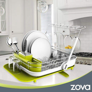 Related mr siga zova premium stainless steel multi functional dish drying rack with cutlery holder and wine glass rack dish drainer utensil organizer for kitchen large white green