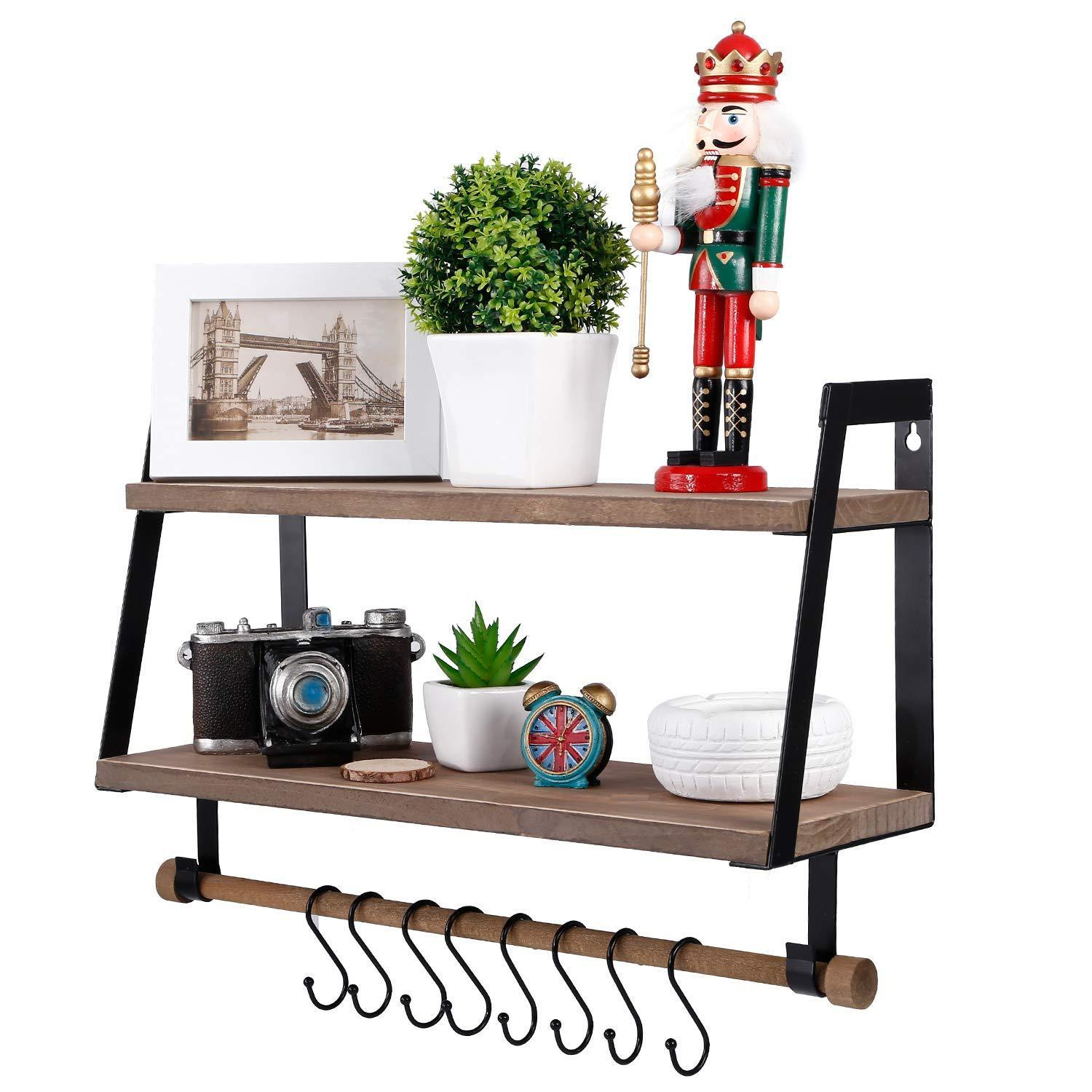 New kakivan 2 tier floating shelves wall mount for kitchen spice rack with 8 hooks storage rustic farmhouse wood wall shelf for bathroom decor with towel bar