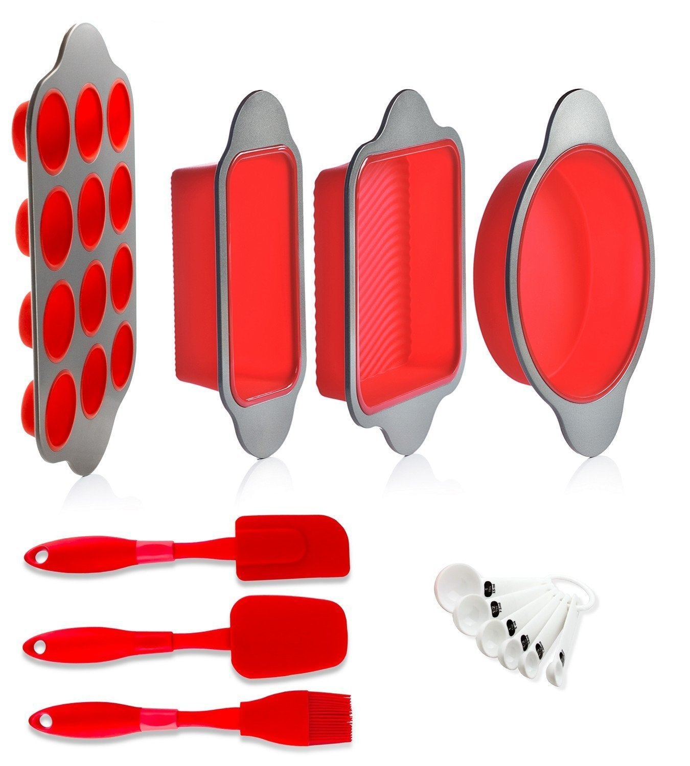 Selection silicone baking molds pans and utensils set of 13 by boxiki kitchen silicone cake pan brownie pan loaf pan muffin mold 2 spatulas brush and 6 measuring spoons