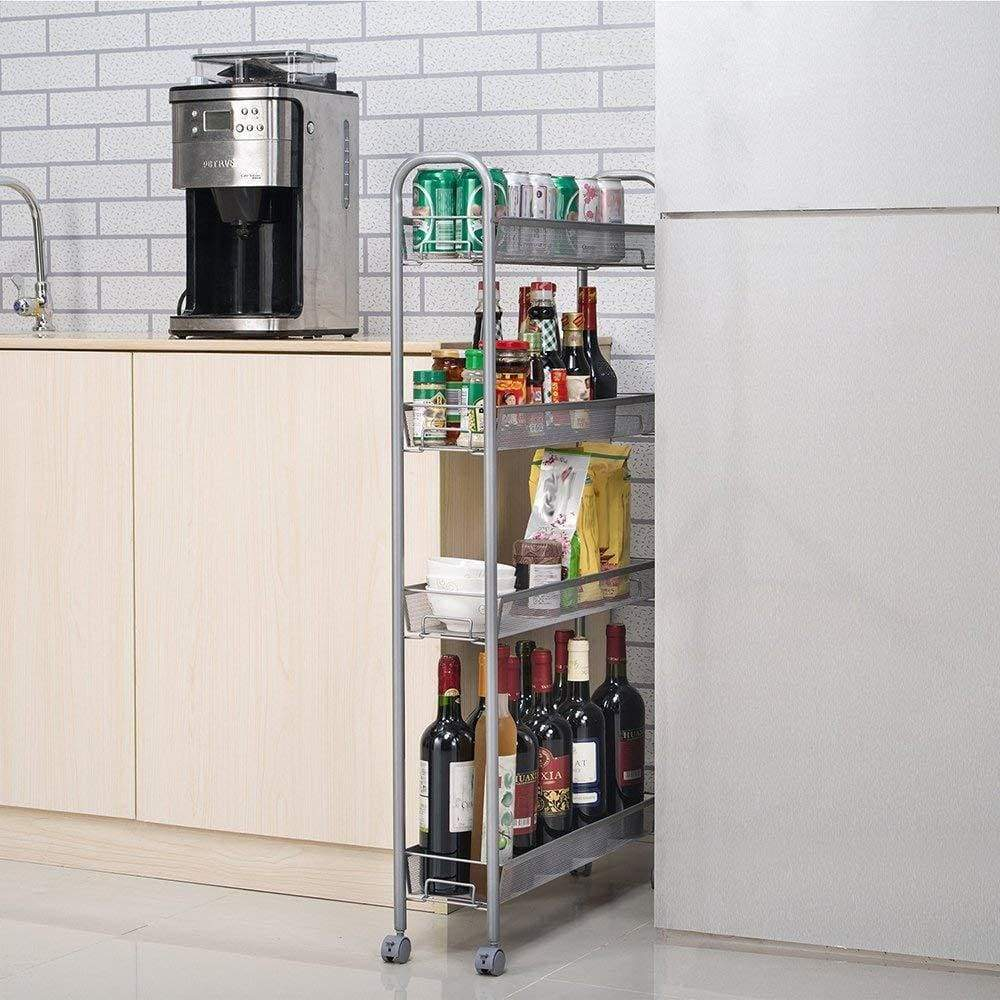 Budget dalilylime 4 tier removable storage cart gap kitchen slim slide out storage tower rack with wheels cupboard with casters silver 4 layers 420s