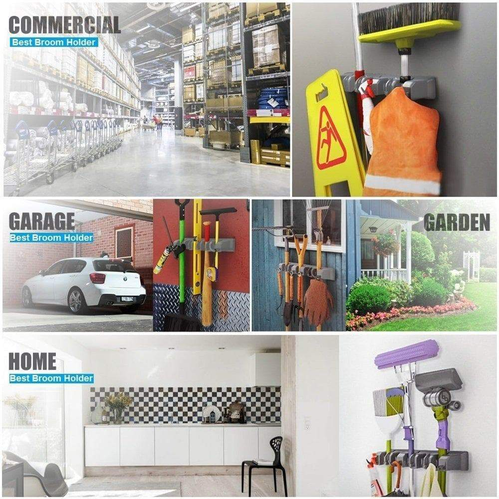 Great mop broom holder wall mounted garden tool organizer space saving storage rack hanger with 5 position with 6 hooks strong grip holds up to 11 tools for kitchen garden and garage