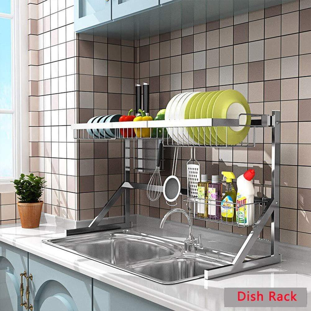 Save xue shelf dish drainer rack holder black stainless steel kitchen rack sink sink dish rack drain bowl rack dish rack kitchen supplies storage rack silver