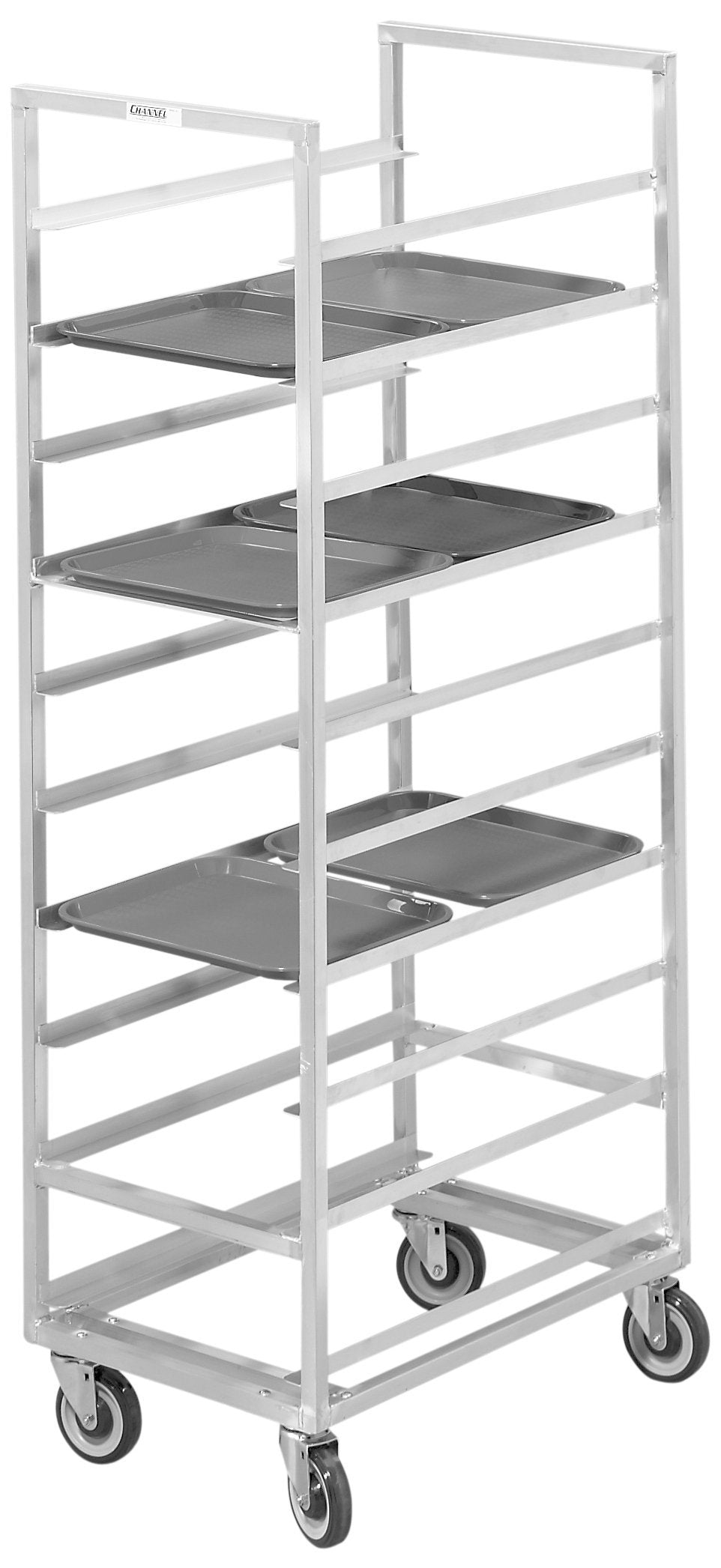 Channel Manufacturing 448A 20 Tray Bottom Load Aluminum Cafeteria Tray Rack - Assembled