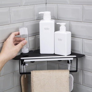 Explore forious bathroom shower caddy and kitchen shelf combine with squeegee towel ring and robe hooks patented glue 3m self adhesive aluminum black