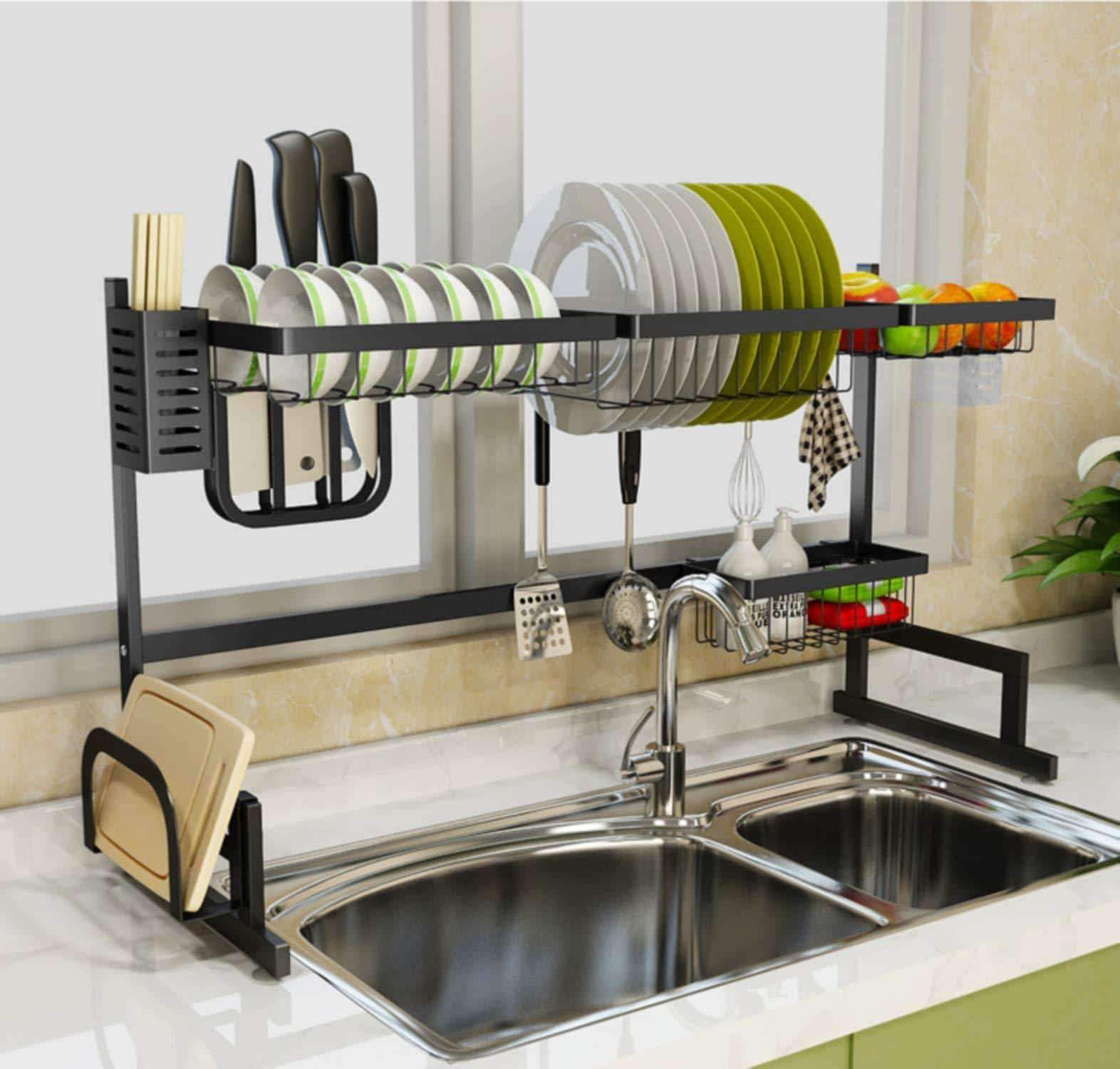 Budget friendly dish drying rack over sink kitchen drainer counter organization supplies shelf stainless steel display utensil holder space saver sink size 32 1 2 inch black