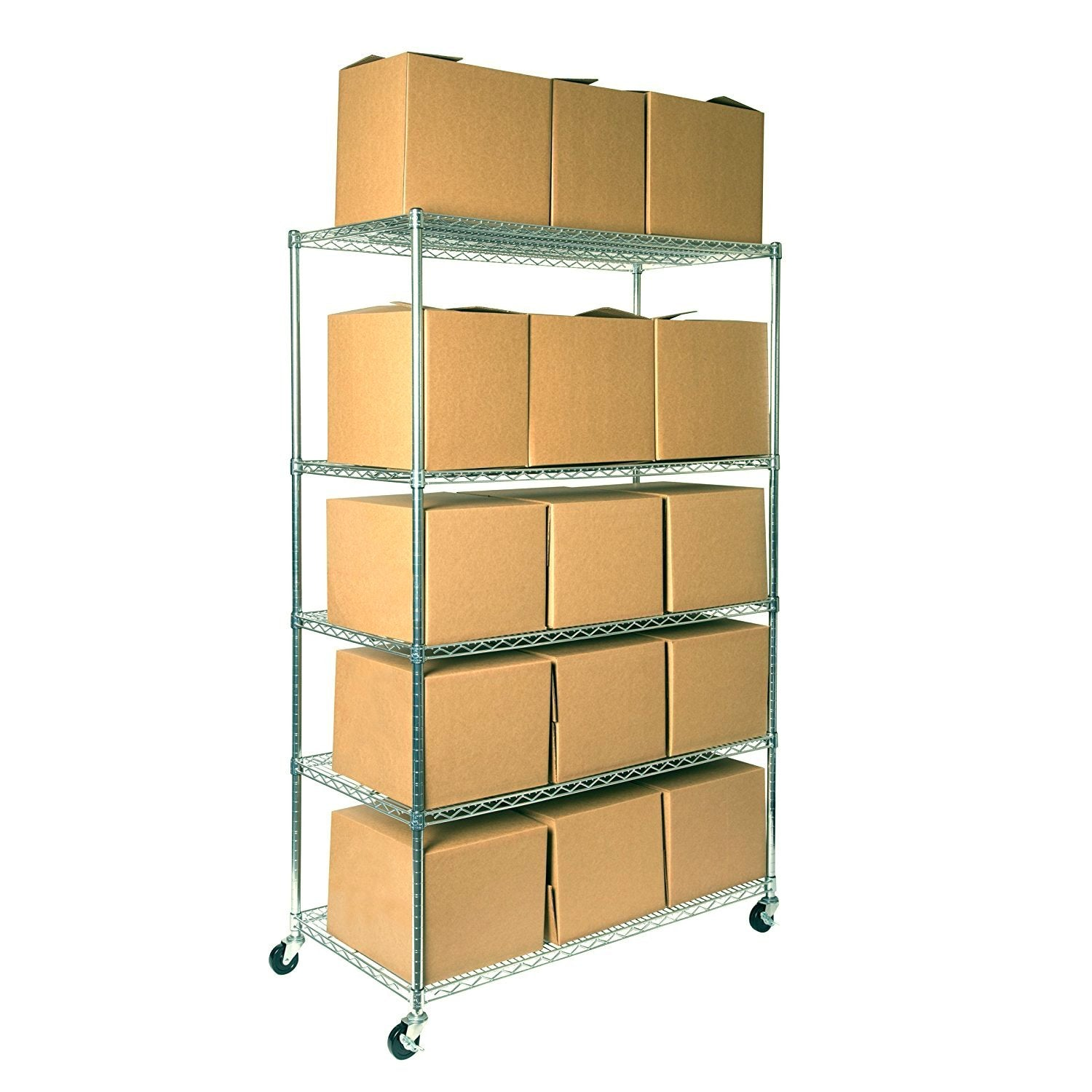 "Seville Classics UltraDurable Commercial-Grade 5-Tier NSF-Certified Steel Wire Shelving with Wheels 48"" W x 24"" D x 72"" H Silver"