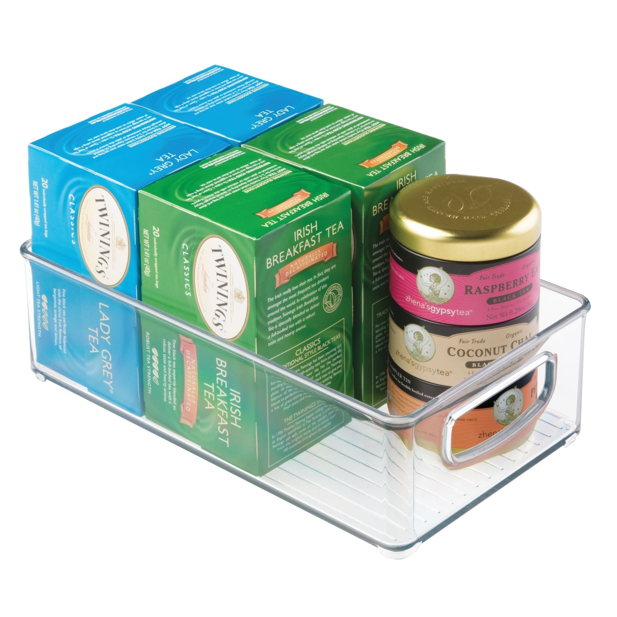 Budget friendly idesign plastic storage bin with handles for kitchen fridge freezer pantry and cabinet organization bpa free set clear