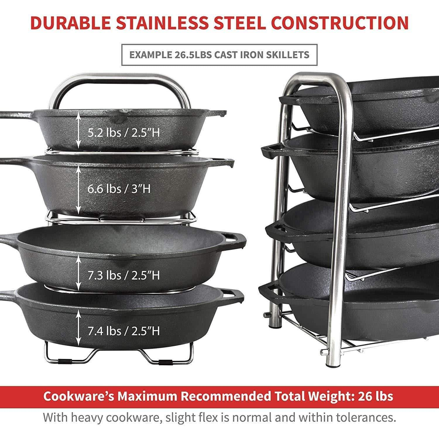 Discover the best heavy duty cast iron pan and pot organizer rack 5 height adjustable shelves kitchen skillets cookware holder stainless steel 15 tall