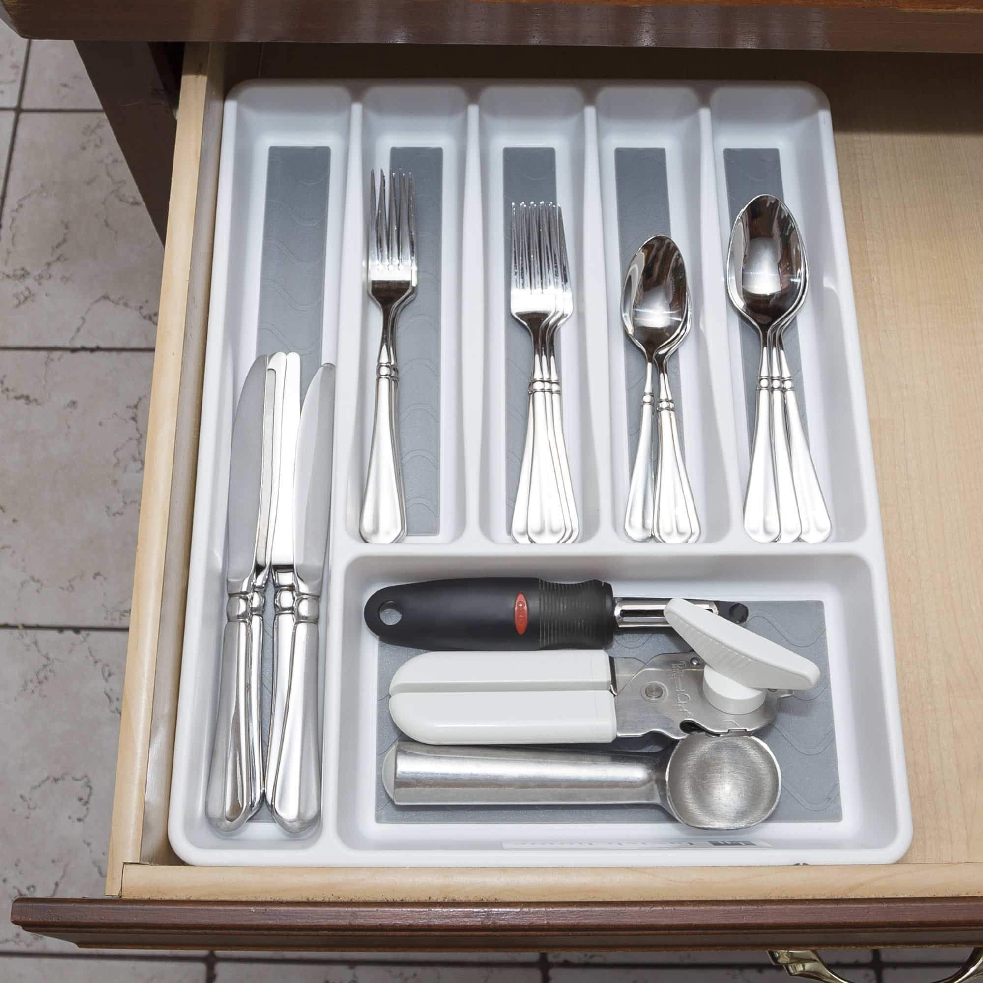 Best seller  silverware drawer organizer with six sections and nonslip tray flatware utensil cutlery kitchen divider by lavish home also for desk and office