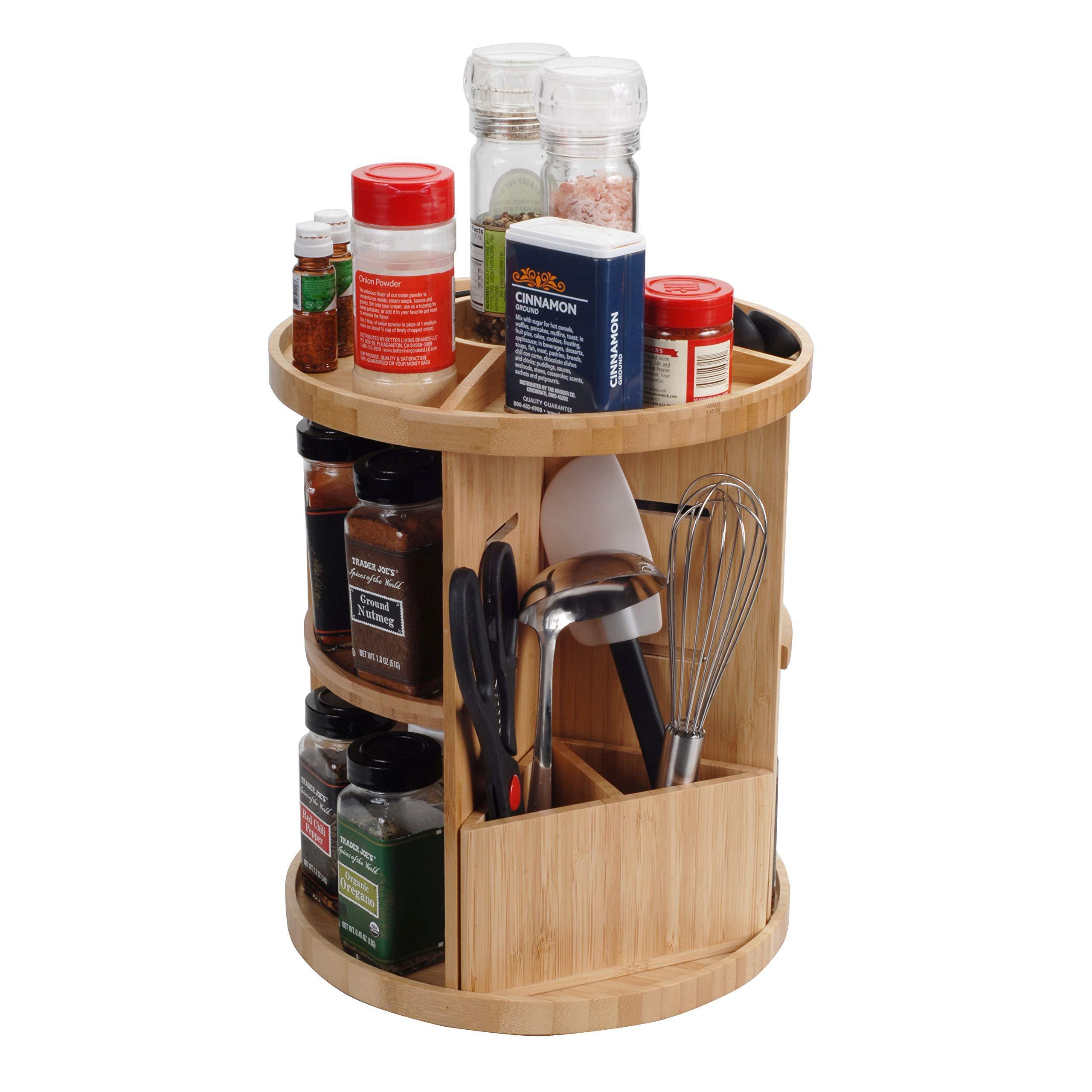 On amazon bamboo 360 rotating spice rack adjustable multi level kitchen organizer with holder for utensils spatulas serving spoons other cooking tools