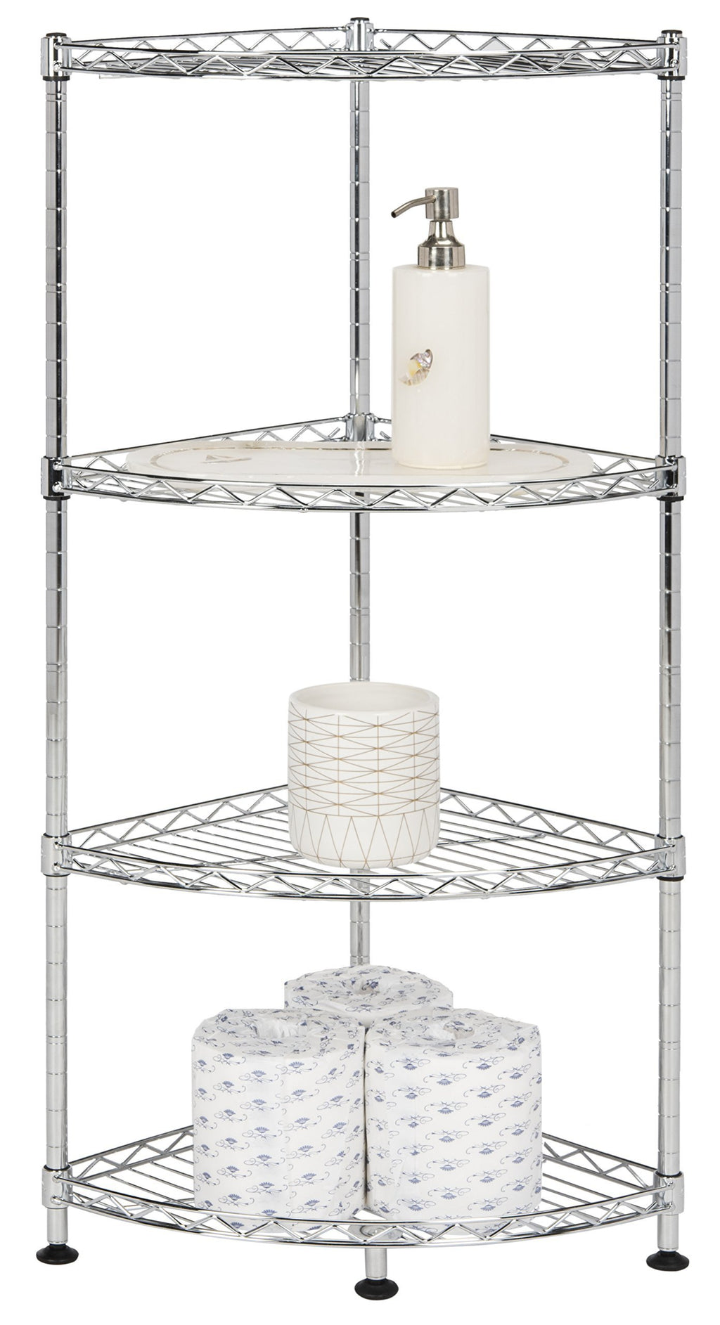 happimess Aleah 4-Tier Corner Storage Rack, Chrome