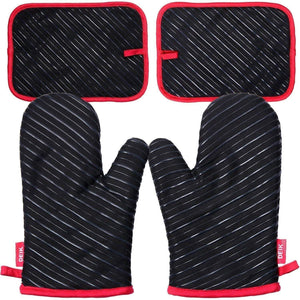 Cheap deik oven mitts and potholders 4 piece sets for kitchen counter safe mats and advanced heat resistant oven mitt non slip textured grip pot holders nano technology