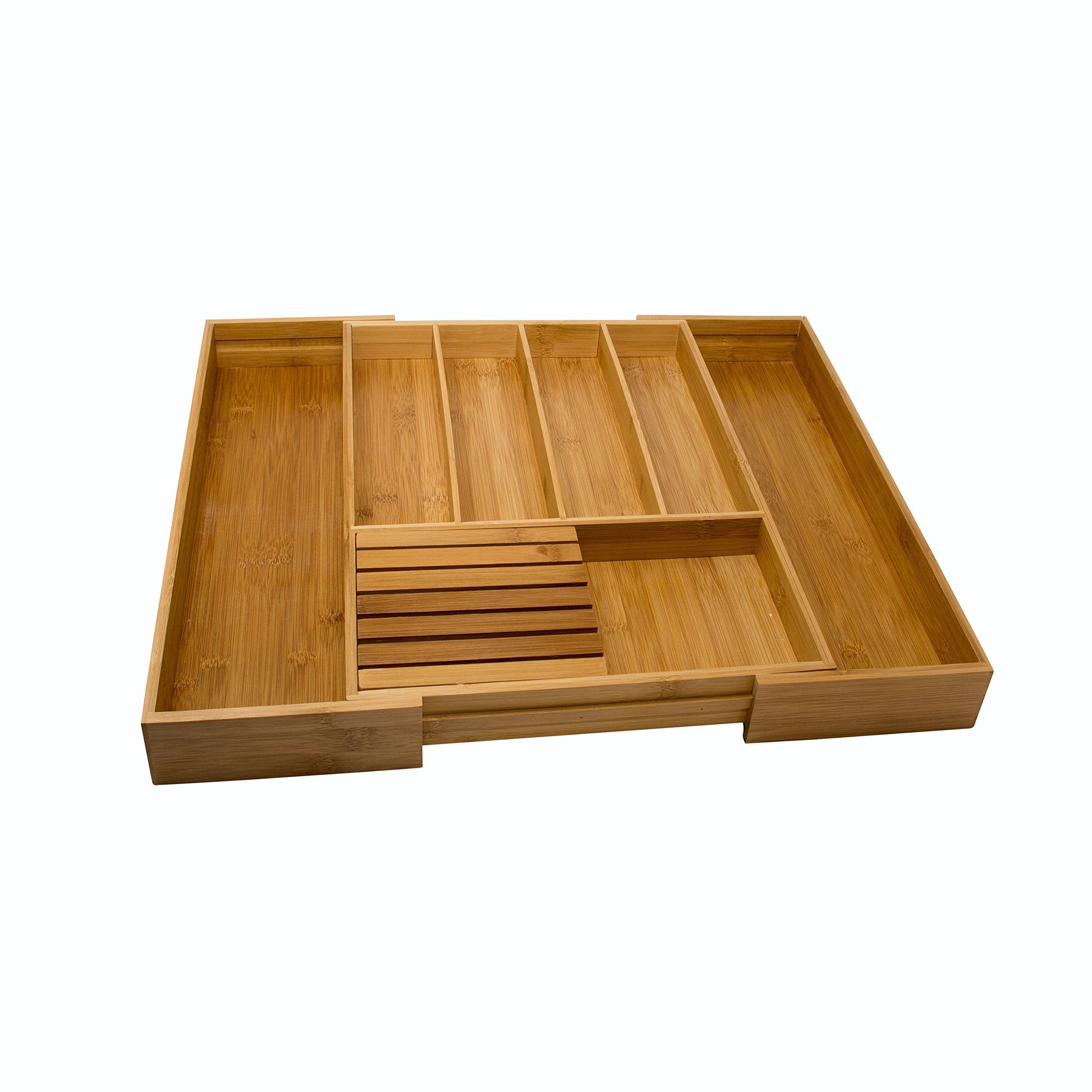 Get vivaware expandable bamboo kitchen drawer organizer 6 roomy spaces and knife block 100 bamboo eco friendly expandable adjustable utensil trays