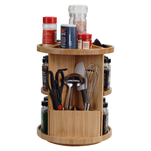 Latest bamboo 360 rotating spice rack adjustable multi level kitchen organizer with holder for utensils spatulas serving spoons other cooking tools