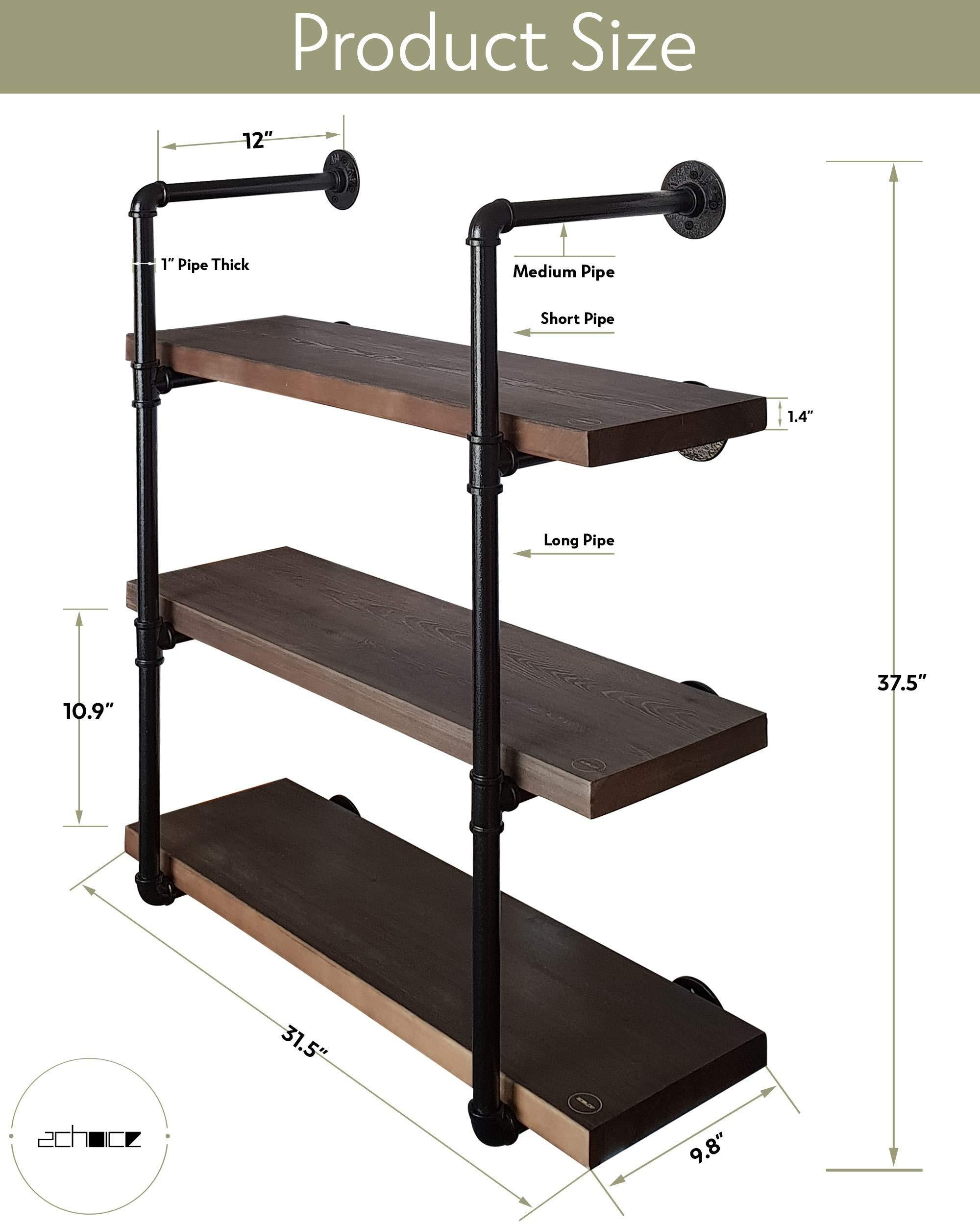 New 2choice industrial pipe shelving rustic shelves solid canadian wood vintage sleek pipe shelves for floating bookshelf kitchen living room versatile home decor wall mounted storage 3 tier