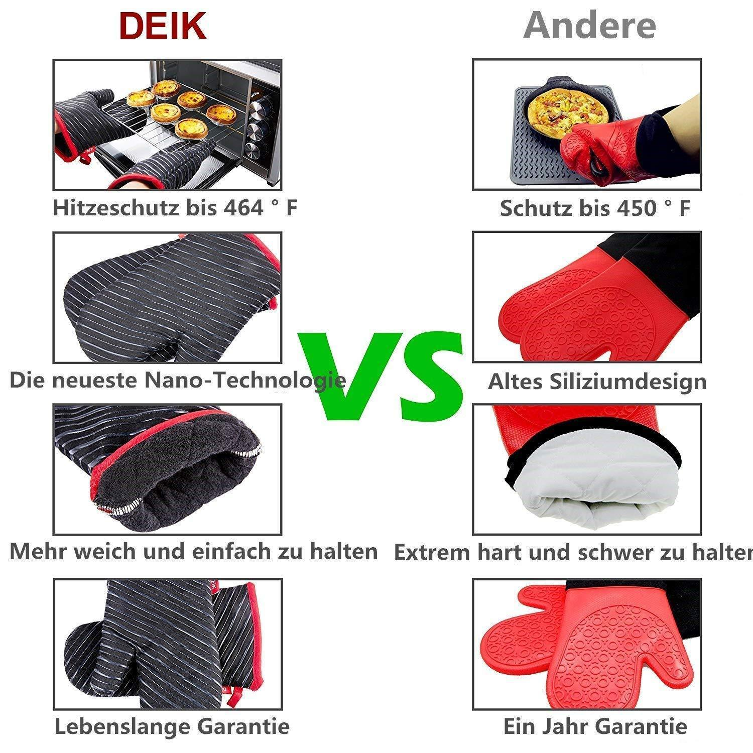 Exclusive deik oven mitts and potholders 4 piece sets for kitchen counter safe mats and advanced heat resistant oven mitt non slip textured grip pot holders nano technology