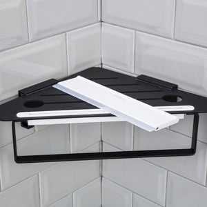 Great forious bathroom shower caddy and kitchen shelf combine with squeegee towel ring and robe hooks patented glue 3m self adhesive aluminum black