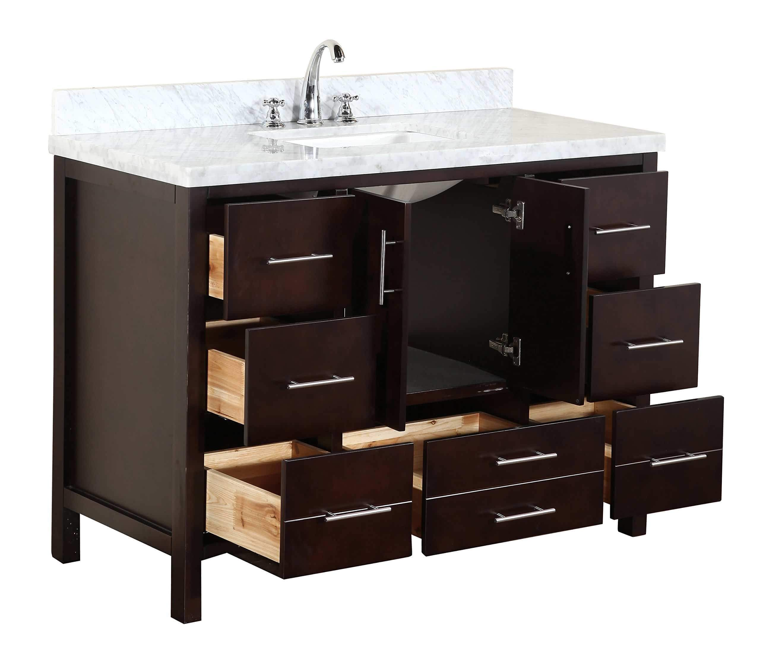 Purchase kitchen bath collection kbc039brcarr california bathroom vanity with marble countertop cabinet with soft close function and undermount ceramic sink carrara chocolate 48