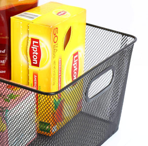 Heavy duty ybm home household wire mesh open bin shelf storage basket organizer black for kitchen pantry cabinet fruits vegetables pantry items toys 1041s 12 12 10 x 9 x 6