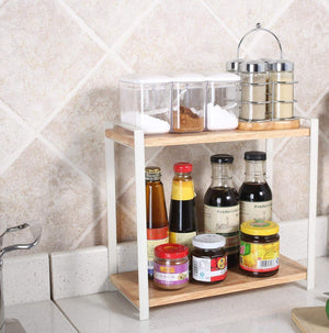 Budget garwarm 2 tiers kitchen natural wooden spice rack standing rack kitchen bathroom bedroom countertop storage organizer spice jars bottle shelf holder rack