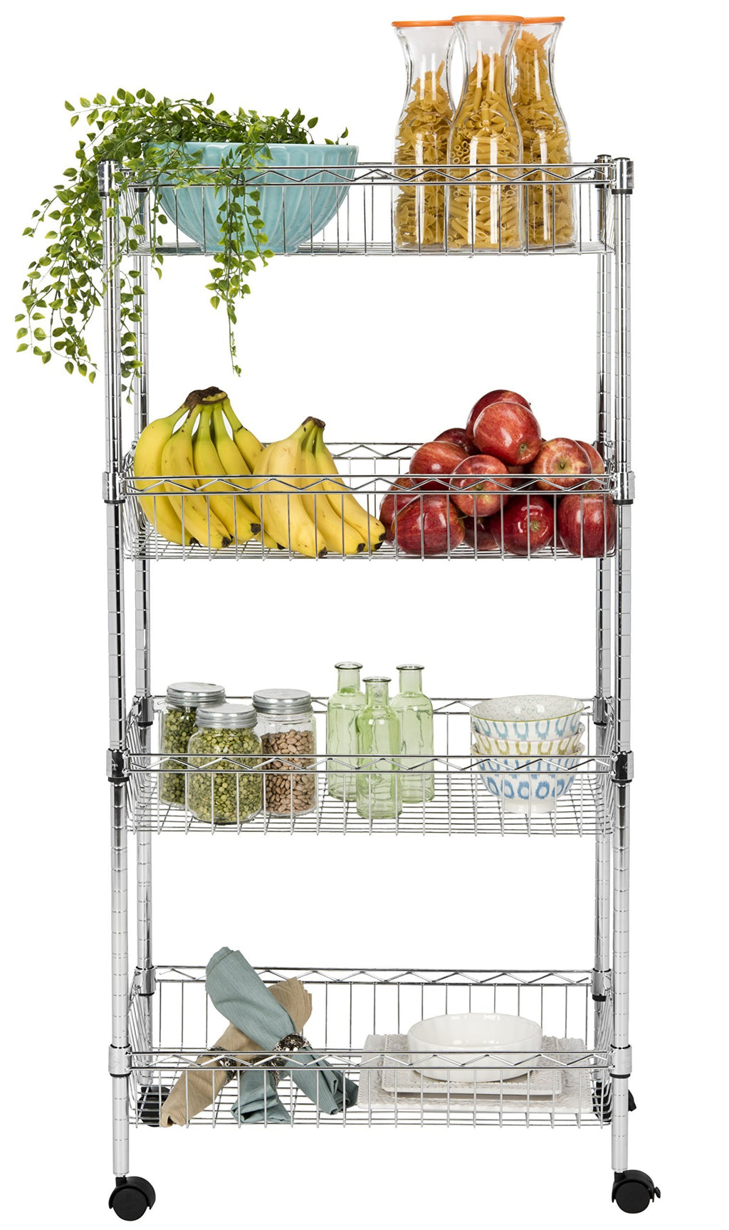 "happimess Grove 4-Shelf 47"" Basket Rack Casters, Chrome, Silver"