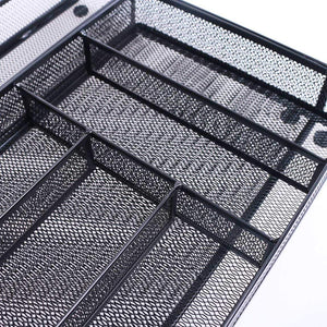 Results szat pro mesh silverware cutlery tray drawer organization kitchen storage flatware utensil organizer for knives spoons forks black expandable