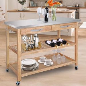 Featured zenstyle 3 tier rolling kitchen island utility wood serving cart stainless steel countertop kitchen storage cart w shelves drawers towel rack