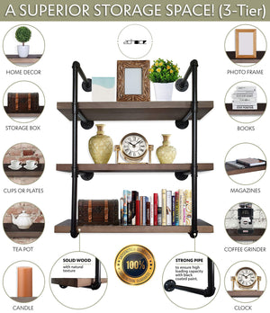 Kitchen 2choice industrial pipe shelving rustic shelves solid canadian wood vintage sleek pipe shelves for floating bookshelf kitchen living room versatile home decor wall mounted storage 3 tier