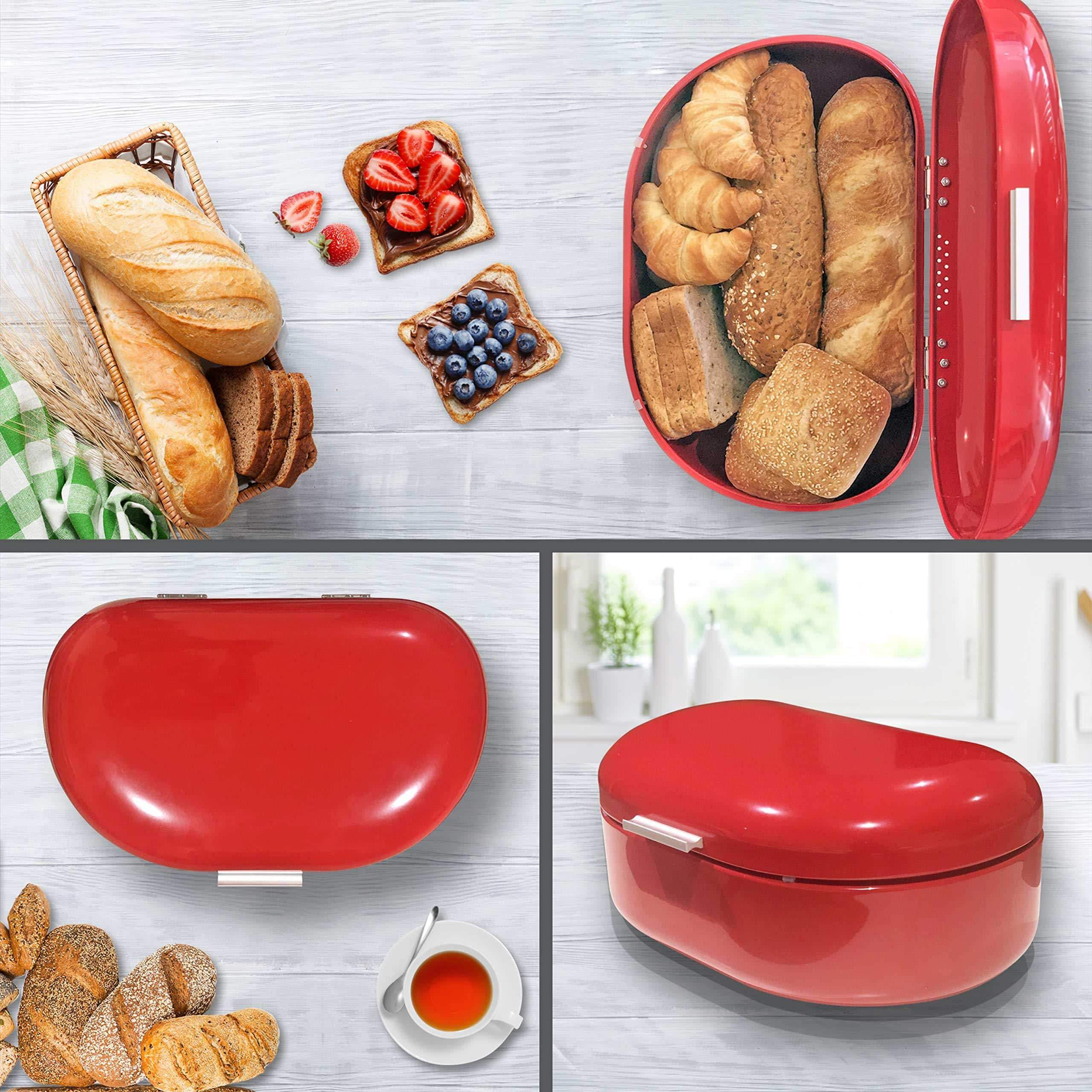 New bread box red carbon steel large capacity sturdy metal food storage containers and bread boxes for kitchen counters retro countertop breadbox for loaves 15 7 x 10 8 x 7 inches