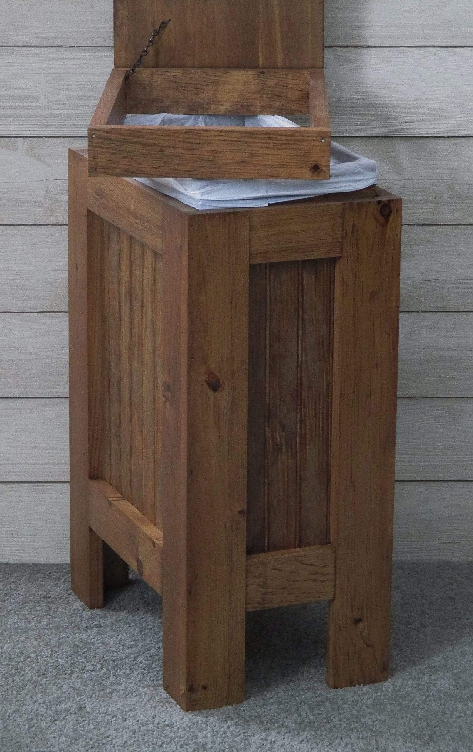 Get wood wooden trash bin kitchen garbage can 13 gallon recycle bin dog food storage early american stain rustic pine metal handle handmade in usa by buffalowoodshop