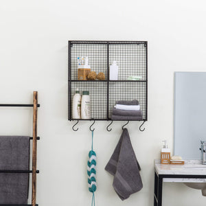 MyGift Wall-Mounted Brown Metal Wire 4-Compartment Storage Rack with 5 S-Hooks