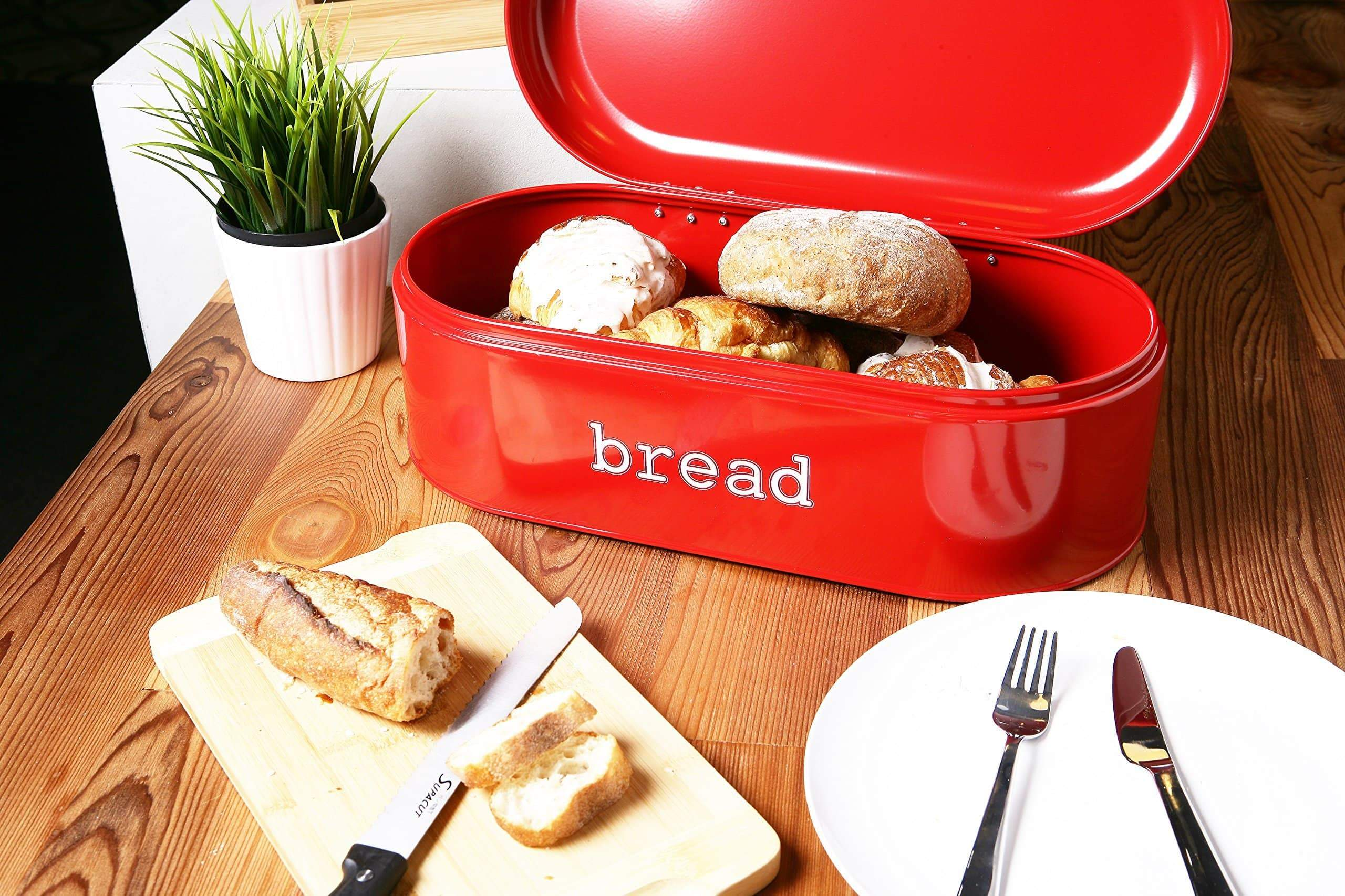 Heavy duty large bread box for kitchen counter bread bin storage container with lid metal vintage retro design for loaves sliced bread pastries red 17 x 9 x 6 inches