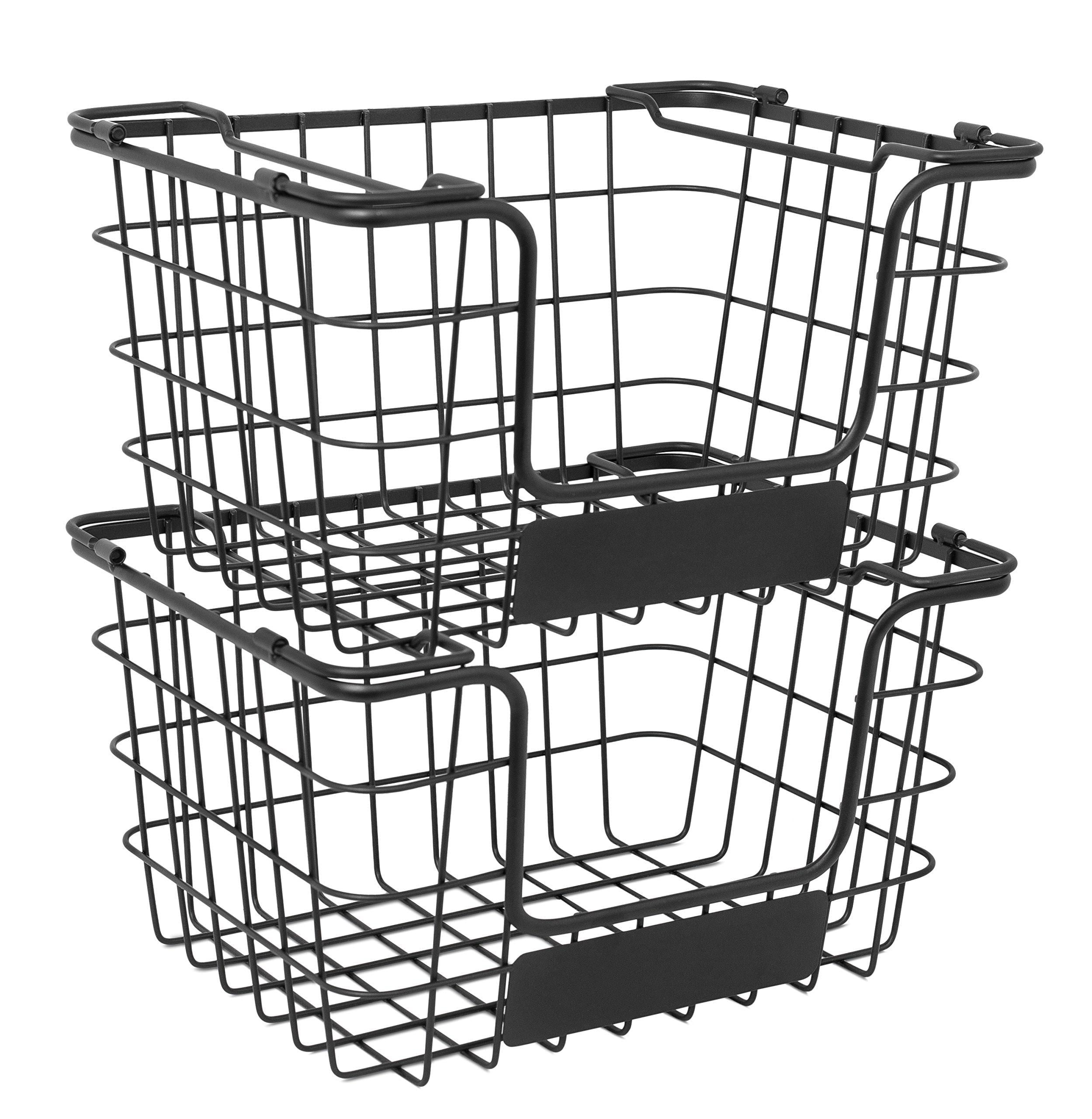 Budget birdrock home stacking wire market baskets with chalk label set of 2 fruit vegetable produce metal storage bin for kitchen counter black