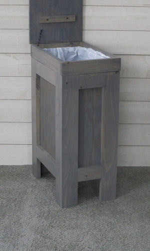 Best seller  rustic wood trash bin kitchen trash can wood trash can trash cabinet dog food storage 13 gallon recycle bin gray stain metal handle handmade in usa by chris buffalowoodshop