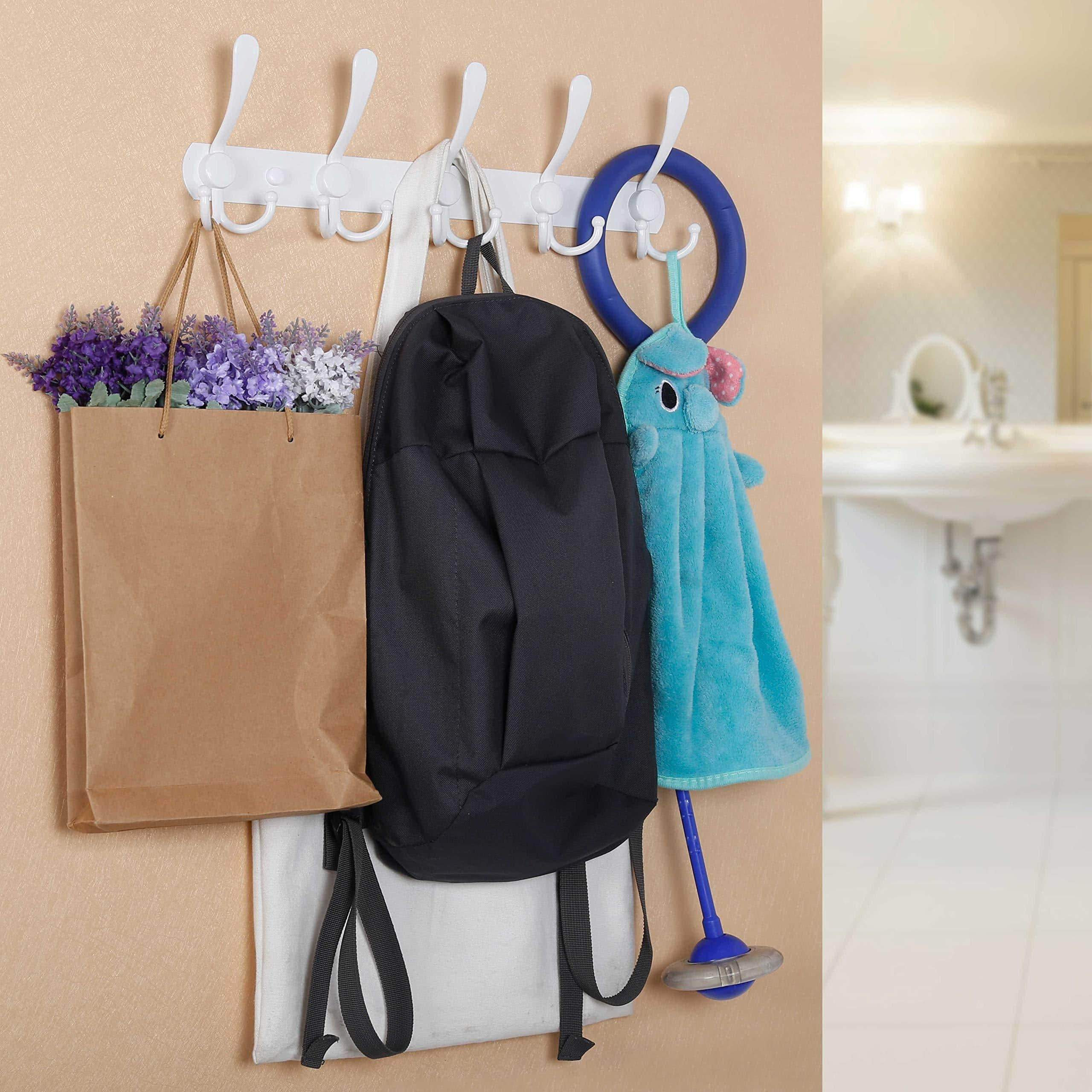 Discover the best webi coat rack wall mounted 5 tri hooks decorative coat hook rack triple hook rail wall hooks for bathroom kitchen office entryway closet white 2 packs