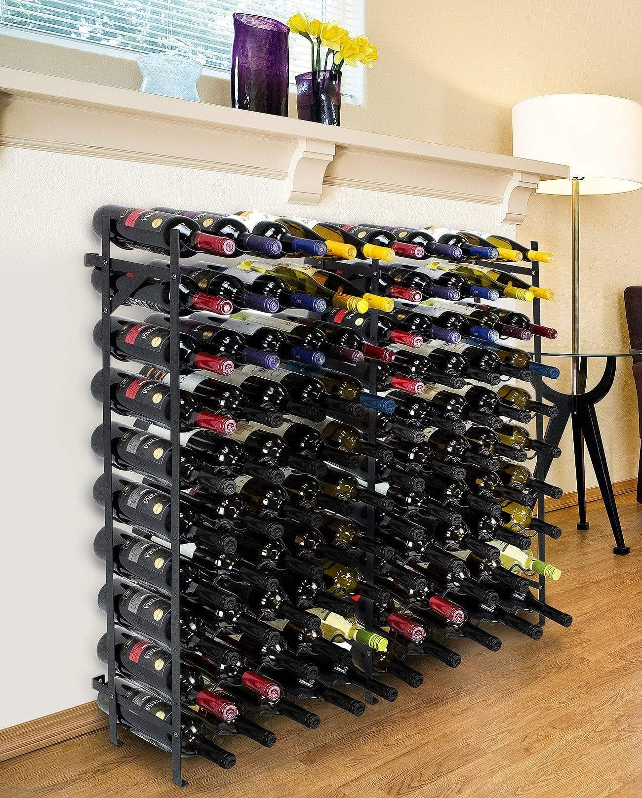Explore sorbus display rack large capacity wobble free shelves storage stand for bar basement wine cellar kitchen dining room etc black height 40 100 bottle
