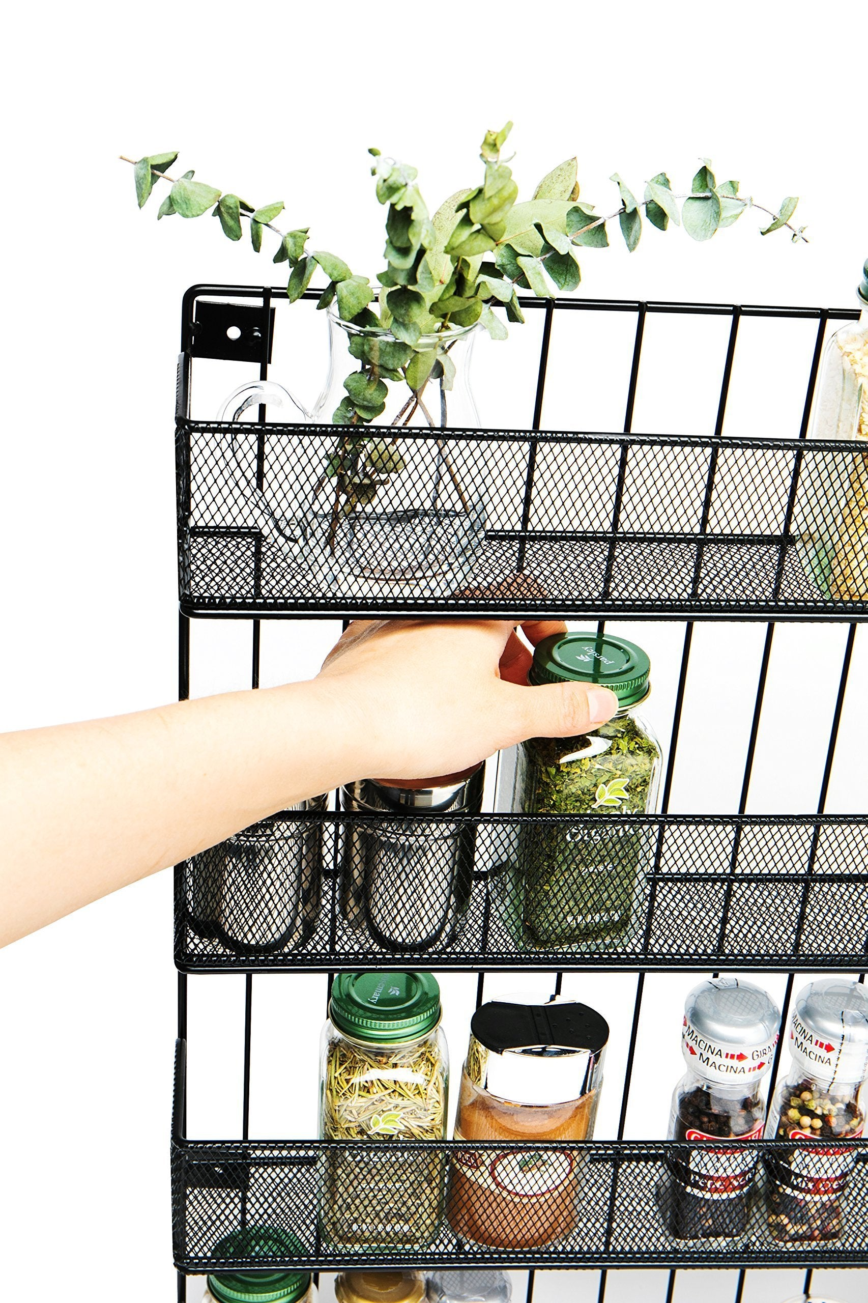 Kitchen jackcubedesign wall mount spice rack 4 tier kitchen countertop worktop display organizer spice bottles holder stand shelves17 6 x 2 8 x 20 8 inches mk418a