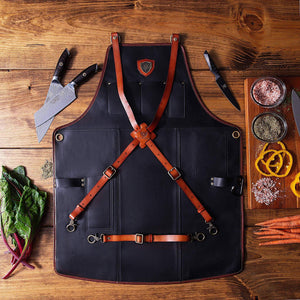 Amazon dalstrong professional chefs kitchen apron the culinary commander top grain leather 5 storage pockets towel tong loop fully adjustable harness straps heavy duty