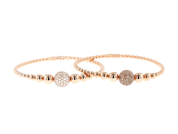 18 ct pink gold  bracelet with brown or white diamonds