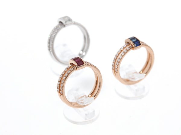 18 ct pink or white gold ring with sapphires, rubis or diamonds